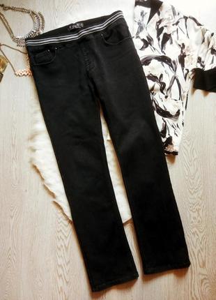Черные плотные прямые зимние джинсы джеггинсы на резинке не ск...