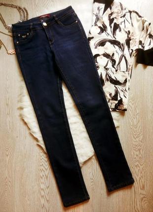 Синие зимние теплые джинсы скинни на флисе на высокий рост узк...