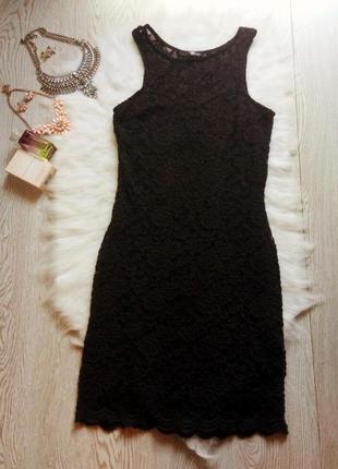 Черное ажурное платье короткое миди гипюр нарядное вечернее в ...