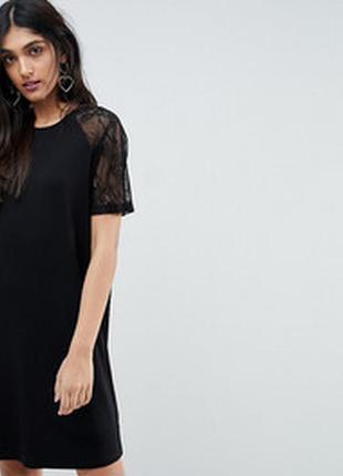 Черное натуральное платье длинная футболка с ажурными рукавами...
