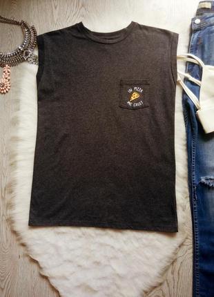 Серая черная меланж футболка майка с модным принтом еды на кар...