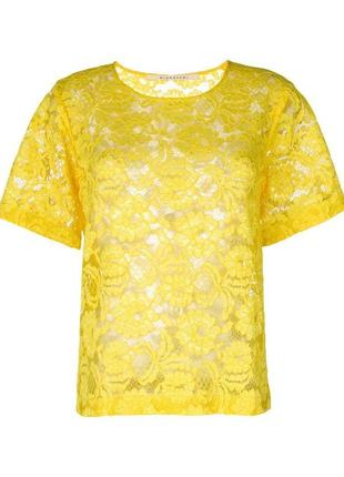 Желтый ажурный кроп топ блуза короткая футболка гипюр цветная ...