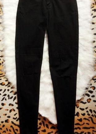 Черные джинсы скинни с прорезями на коленях американки джеггин...