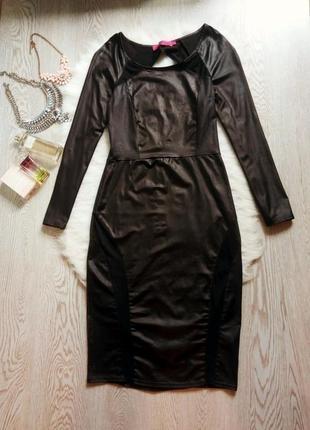 Черное платье миди с открытой спиной и вставками кожзам ( под ...