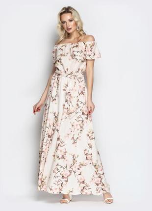 Розовое в цветочный принт длинное в пол платье сарафан с волан...