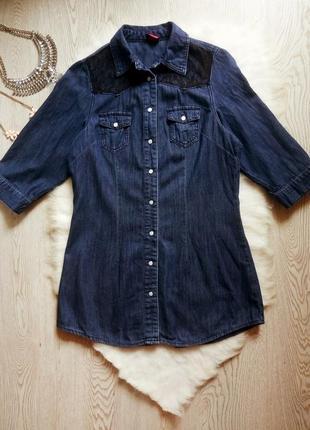 Темная синяя джинсовая длинная рубашка туника с черным гипюром
