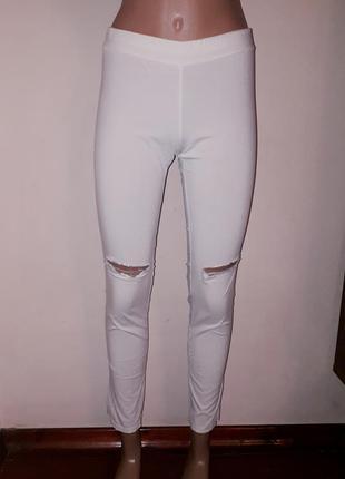 Леггинсы летние брюки скинни с разрезами на коленях