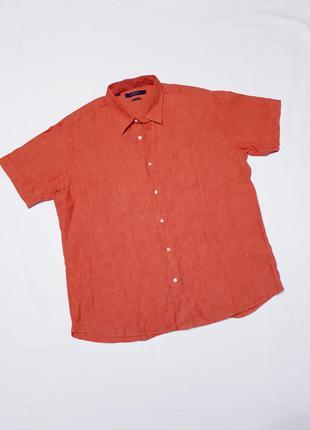 Рубашка с коротким рукавом шведка лен 100% большого размера