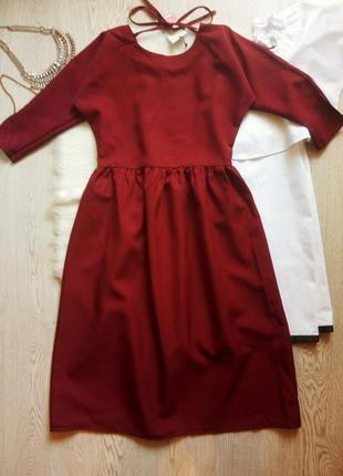 Бордовое марсала свободное платье миди с пышной длинной юбкой ...