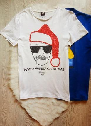 Белая мужская футболка хлопок стрейч с принтом рисунком надпис...