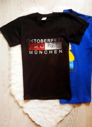 Черная мужская футболка хлопок с принтом рисунок надписи красн...