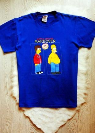 Синяя мужская цветная футболка с принтом гомера  еды пончики н...