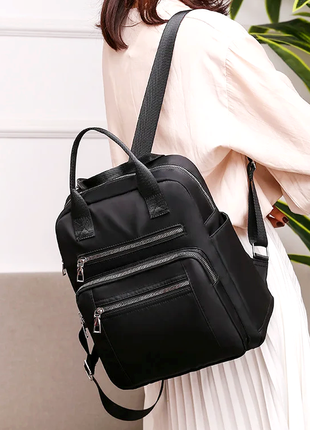 Женский черный рюкзак нейлон.  женская сумка. женский портфель