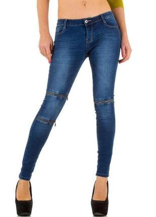 Синие голубые джинсы скинни с молниями замками на коленях кроп...