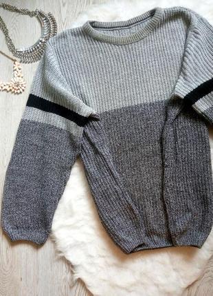 Оверсайз серый меланж свитер вязаная кофта с черной полосой цв...