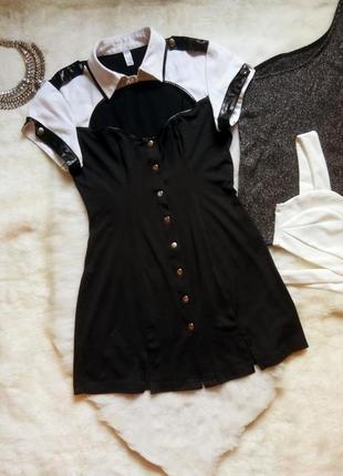 Черная секси рубашка туника платье с белыми рукавами открытым ...