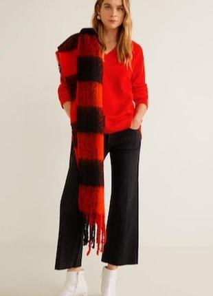 Красный натуральный шерстяной свитер кофта вязаная шерсть мери...