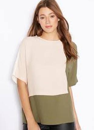 Натуральная цветная блуза футболка хаки розовая белая колор бл...