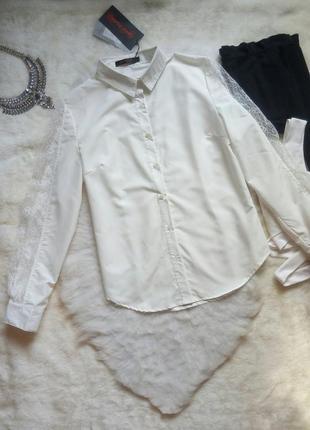 Белая нарядная рубашка длинный рукав с гипюром ажурными вставк...