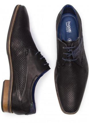 Нові чорні шкіряні туфлі преміум класу bugatti 44р. 27см.