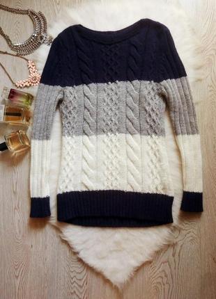 Цветной свитер кофта вязаная узор косами синий белый серый в ш...