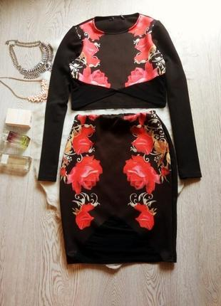 Черный костюм кроп топ юбка миди с цветочным принтом розами се...