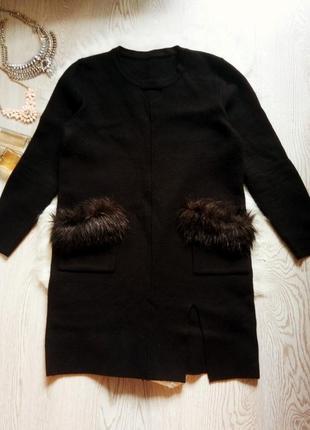 Черное теплое шерстяное платье с мехом на карманах,секси вырез...
