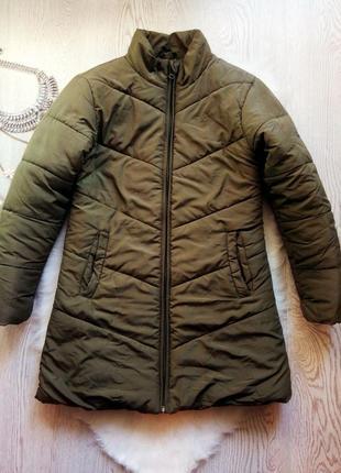 Длинная теплая куртка хаки на молнии с карманами без капюшона ...