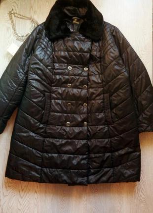Черная зимняя длинная куртка пуховик с мехом капюшоном пальто ...