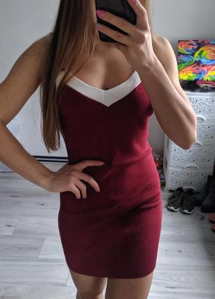 Трикотажное мини-платье, короткое платье мини