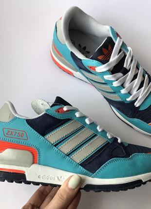 Кроссовки Adidas ZX 750 адидас женские ментоловые с оранжевым 39,