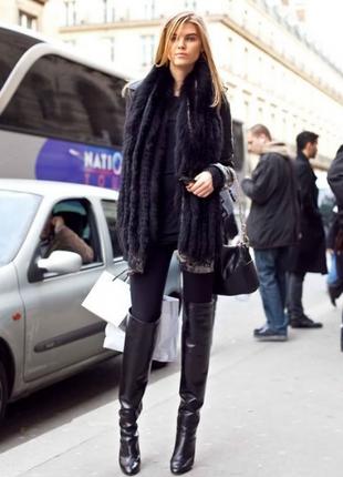 Черные кожаные высокие сапоги ботфорты на платформе танкетке d...