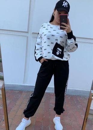 Karl Lagerfeld стильный современный черно-белый спортивный костюм
