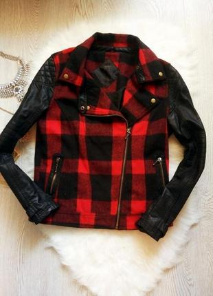 Куртка косуха черная в красную клетку кожзам теплая шерсть кож...