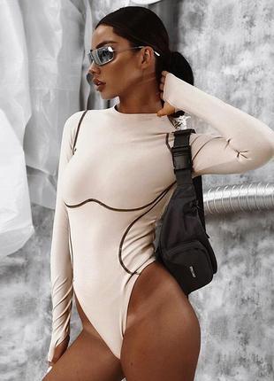 Бежевый боди с имитацией косточек под грудью бодик женский беж