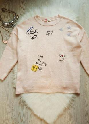 Розовый вязаный свитер кофта оверсайз с нашивками патчами рису...