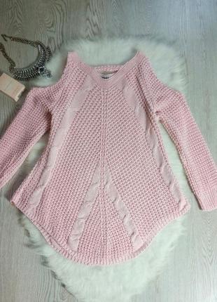 Вязаный розовый свитер с вырезами открытыми плечами кофта тепл...