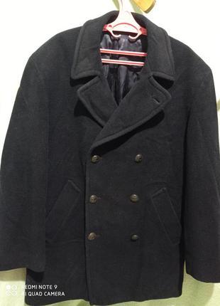 Темно-синее двухбортное пальто полупальто шерстяное