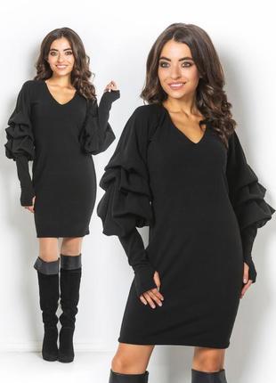 Теплое платье с пышными рукавами