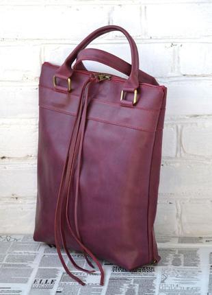 """Сумка - рюкзак из натуральной кожи crazy horse """"venus"""". натура..."""