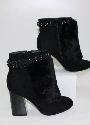 Женские черные замшевые ботинки ботильоны на каблуках с мехом,...