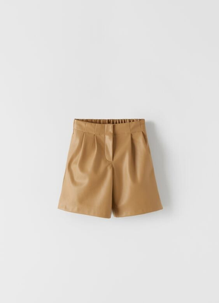 Zara шорты из искусственной кожи с защипами