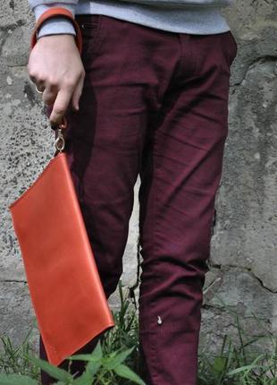 Кожаная папка-клатч для бумаг и документов из натуральной кожи...