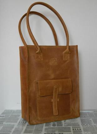 Сумка шоппер с карманом на молнии. натуральная кожа. ручная ра...
