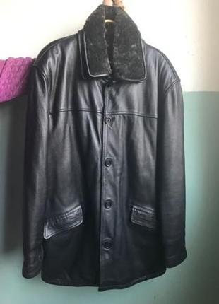 Мужская кожаная куртка зимняя новая XXXL