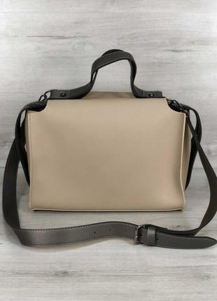 Стильная сумка с косметичкой 2в1 кремового цвета