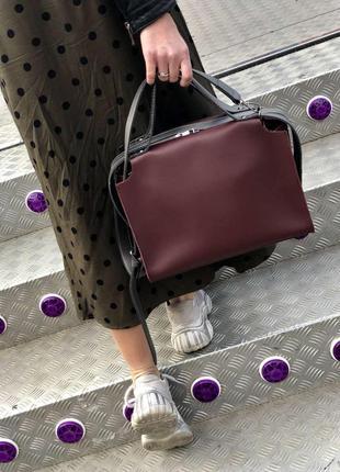 Стильная сумка с косметичкой 2в1 бордового цвета