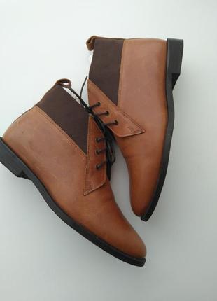 Стильные коричневые кожаные ботинки дезерты от topshop 39 размера
