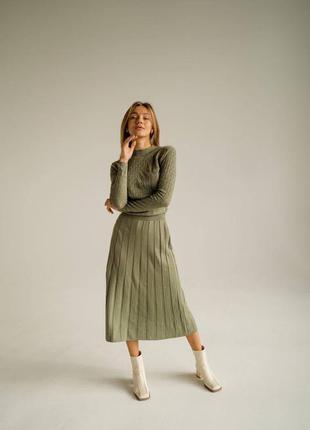Платье женское миди плиссированная юбка