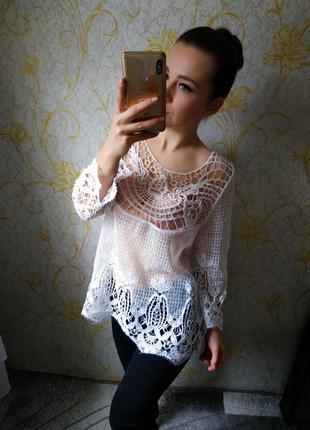 Шикарная блузка гипюр кружева можно на пляж на купальник yes o...